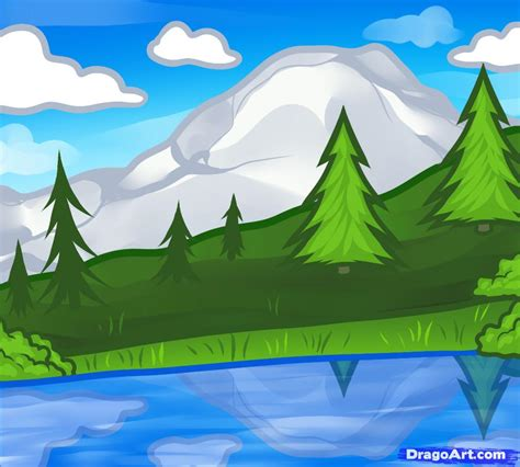 how to draw a landscape for kids step by step landscapes