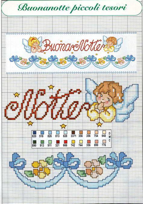 schemi punto croce lenzuolino gratis buonanotte con angeli schema punto croce per lenzuolino 2