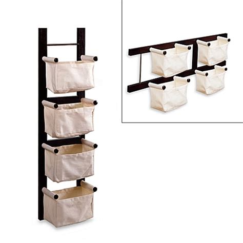 Bathroom Magazine Storage Espresso Magazine Rack With Canvas Baskets Bed Bath Beyond