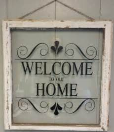 Home Window Decor vintage single pane window personalized quot welcome to our