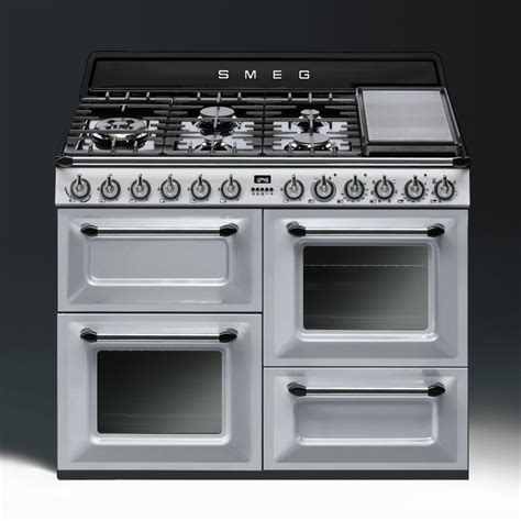 Smeg Appliances Smeg Aesthetic Dual Fuel 110cm Range Cooker Tr4110x Stainless Steel With Chrome Trim