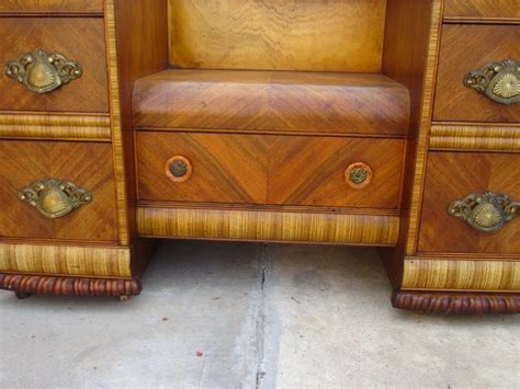 1940s Art Deco Furniture American Vanity Dresser Art Waterfall Deco Bedroom Furniture