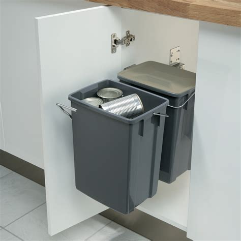 kitchen cabinet recycle bins hafele recycling pull out waste bins 20 litres