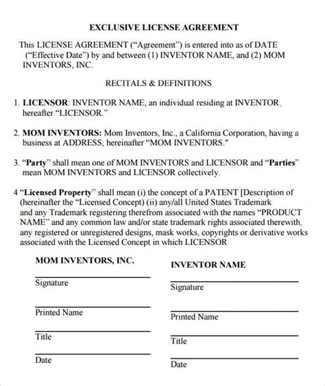 licensing contract template sle license agreement template 9 free documents in