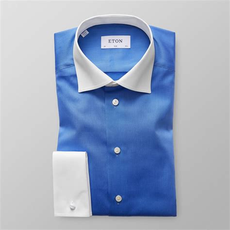 Contrast Collar Shirt blue contrast collar shirt slim eton shirts us