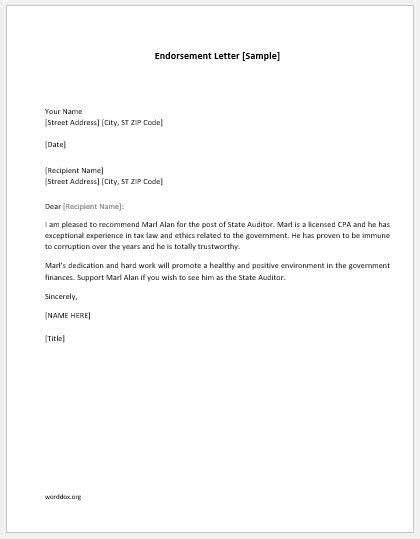endorsement letter template endorsement letters sle templates word document templates