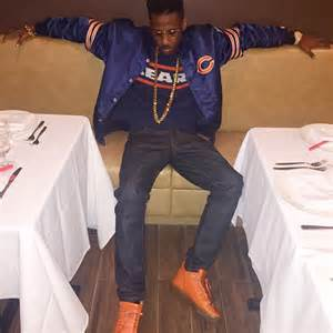 fabolous wears chicago bears starter jacket with matching
