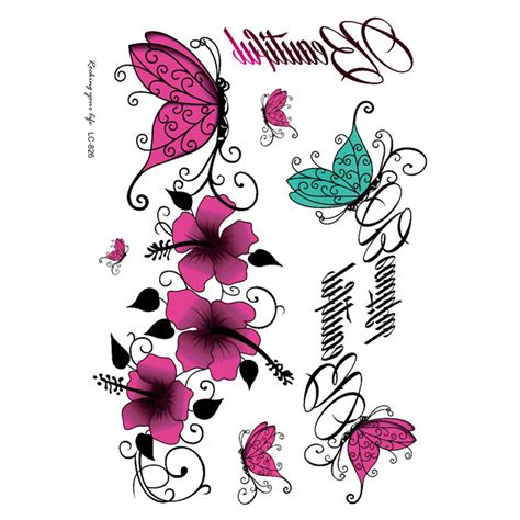 tatto kupu kupu warna suku sexy stiker tato warna warni bunga kupu kupu bunga