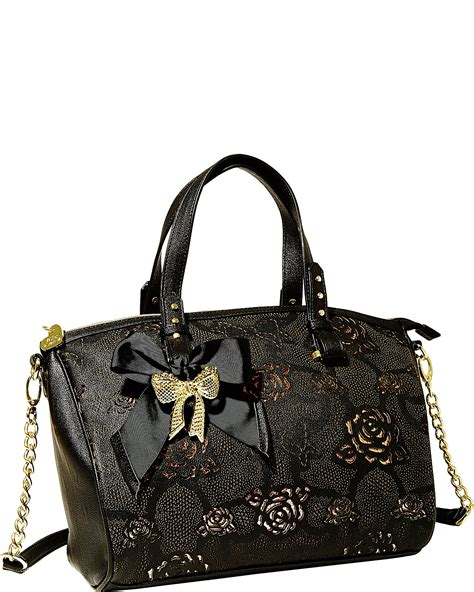 Betsey Johnson Handbag Quilted Satchel by Betsey Johnson Black Racey Barrel Quilted Satchel