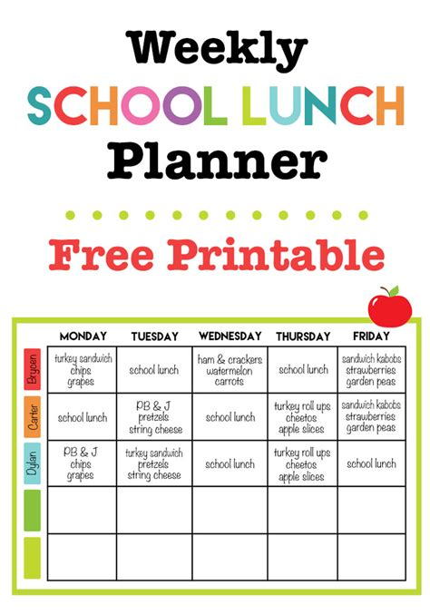 printable lunch meal planner weekly school lunch printable