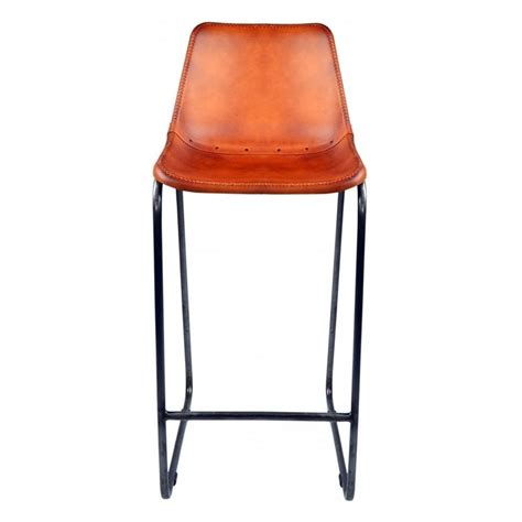 Orange Faux Leather Bar Stools by Buy Burnt Orange Faux Leather Industrial Bar Stool From
