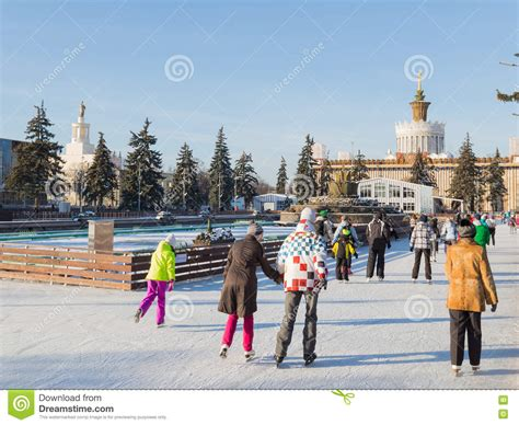 winter garden skating rink outdoor rink in moscow russia editorial