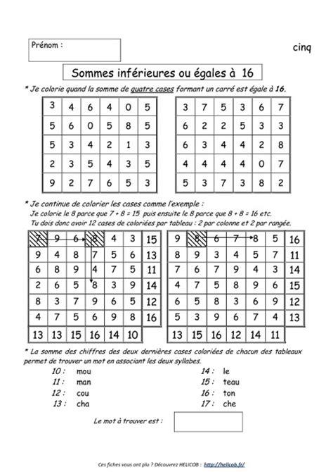 Fiche d39entranement en calcul mental sur les tables