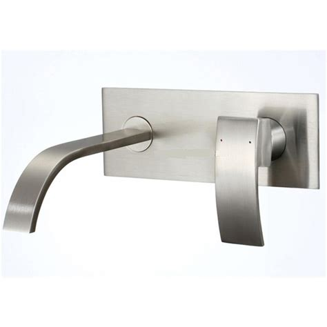 Kokols 1 Handle Wall Mount Bathroom Faucet In Brushed Wall Faucet Bathroom