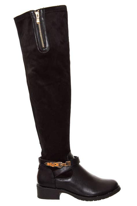 new women s 1 5 inch heel chelsea buckle the knee