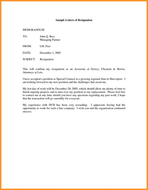 exle of a formal memorandum letter formal letter of resignation exle bio letter format