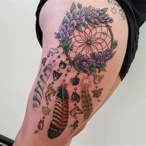 dream catcher thigh tattoo 4 unique dreamcatcher tattoos