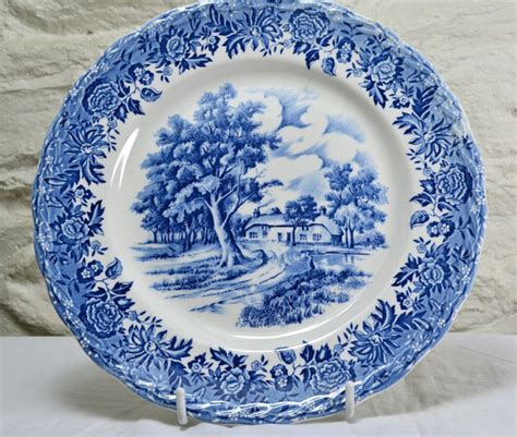 New Antique Style Porcelain Decorative Plate Vintage Blue White Willow Edwardian Ebay Grindley Blue Transferware Plate Country
