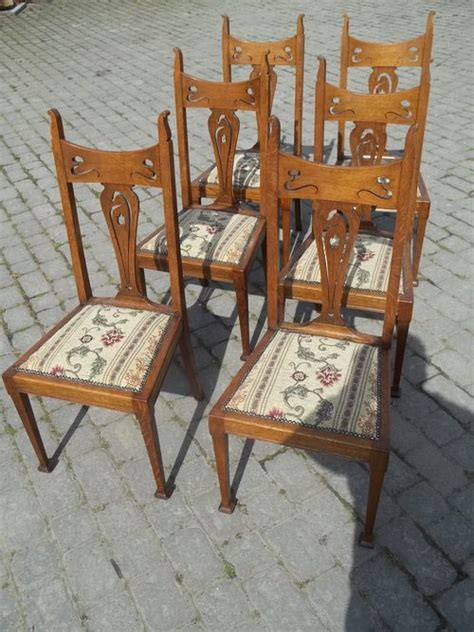 Oak Dining Chairs Antique Antique Set Six Oak Dining Chairs Antiques Atlas