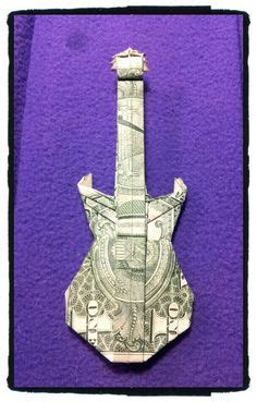 Origami Guitar Dollar Bill - how to make an origami guitar out of a dollar bill how