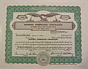 American Sweepstakes Publishers Phone Number - national sweepstakes corporation stock certificate scripophily at a date in time