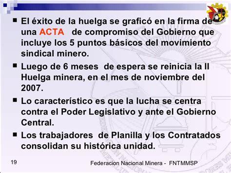 planilla de gobierno central la fntmmsp y la tercerizaci 243 n laboral en el sector minero