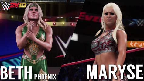 maryse vs beth phoenix wwe 2k18 beth phoenix vs maryse gameplay youtube