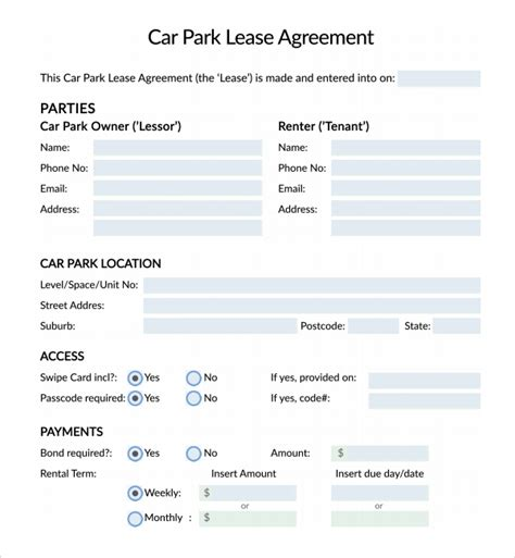 car lease agreement template free sle parking agreement template 9 free documents in