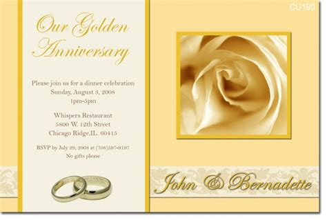 Cu390 Golden Anniversary Engagement Wedding Invitations Invitations 2 Impress Photo Golden Anniversary Invitation Templates