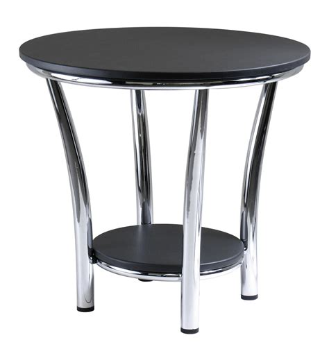 End Tables Winsome End Table Black Top Metal Legs By Oj