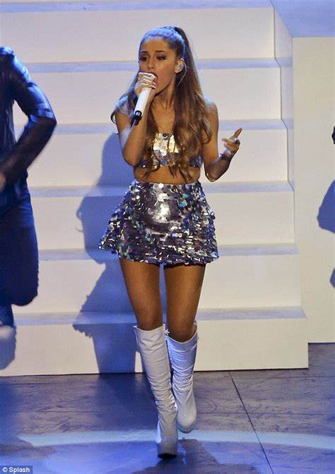 Ariana grande hits muchmusic video awards stage in sequined crop top