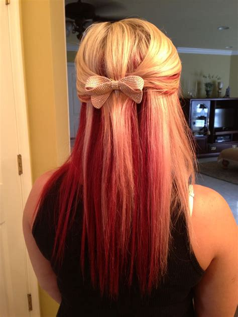 red on top and blond underneath hairstyles my red and blonde hair hair color pinterest blonde