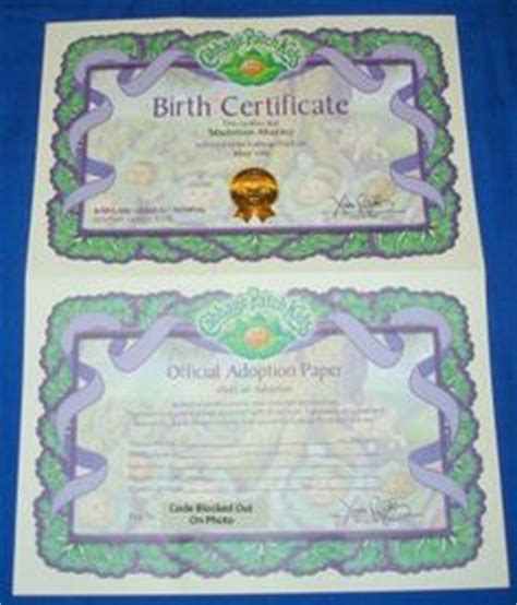 Sealed Birth Records Adoption Sealed Cabbage Patch Birth Certificate And Adoption