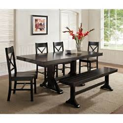 Dining Table Set Black 6 Solid Wood Dining Set Black Walmart