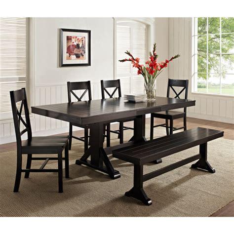 bench dinette set 6 piece solid wood dining set black walmart com