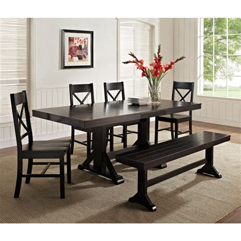 dinette set with bench 6 piece solid wood dining set black walmart com