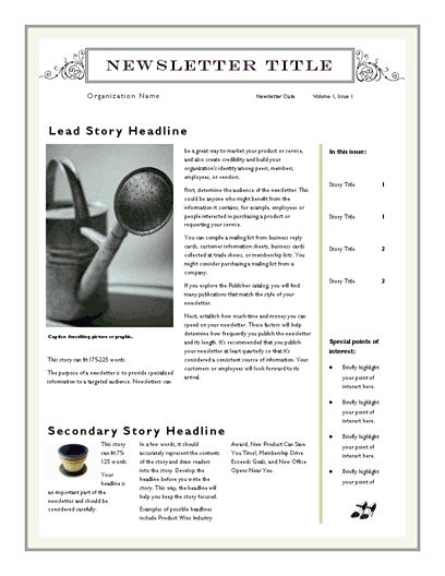 simple newsletter templates free free newsletter template for word 2007 and later