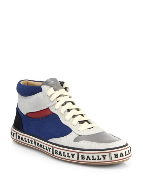 high top bally sneakers bally leather high top logo sneakers in gray for lyst