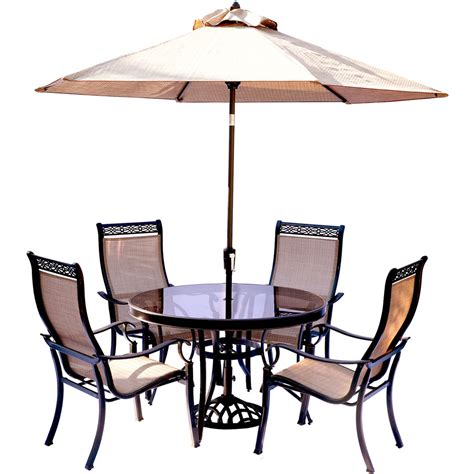 Umbrella And Table Set Monaco 5pc Glass Dining Set With 9 Ft Table Umbrella And