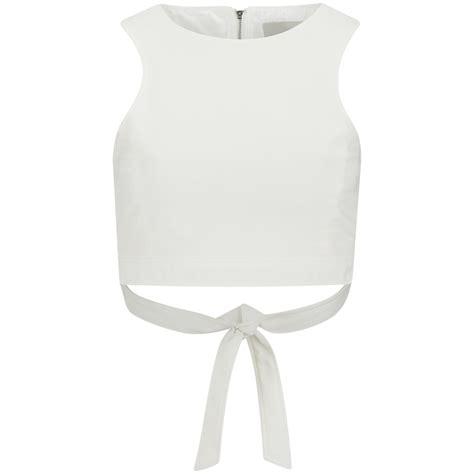 lavish alice womens white tie  crop top white