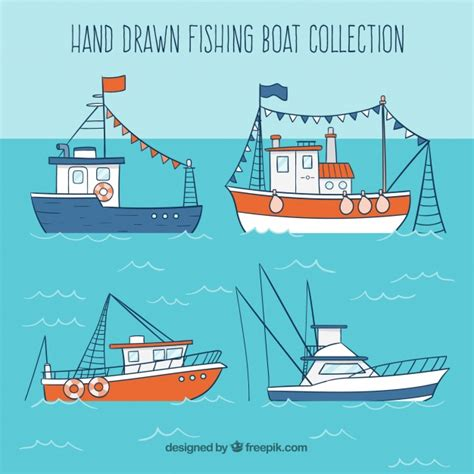 fishing boat vector hand drawn fishing boat collection vector free download