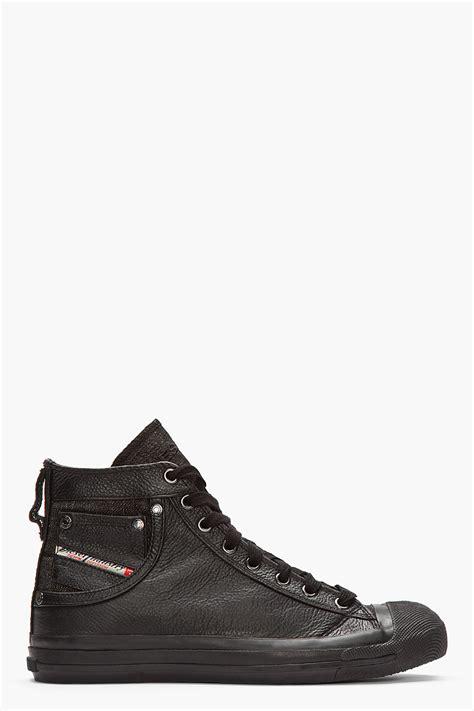 diesel high top shoes diesel black leather exposure high top sneakers in black