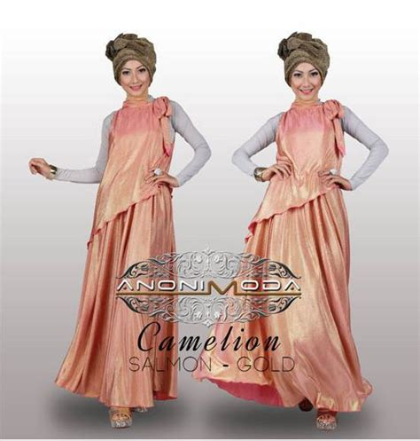 Dress Pesta Quine By Ayyanameena carmelion salmon gold baju muslim gamis modern