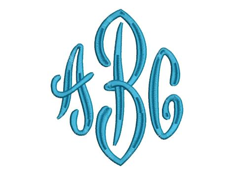 embroidery design monogram large end scroll 3 letter monogram font machine embroidery
