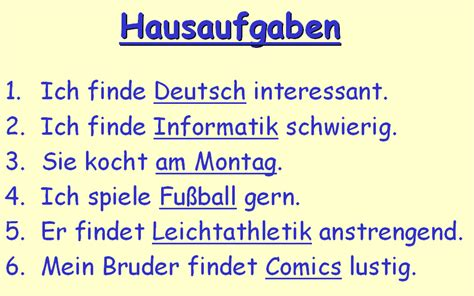 German Word For by Verbs Year 8 German