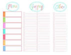 Blank calendar printable menu calendar template 2016