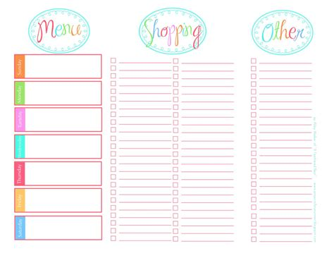 printable meal planner with grocery list sustainably chic designs organization meal planning