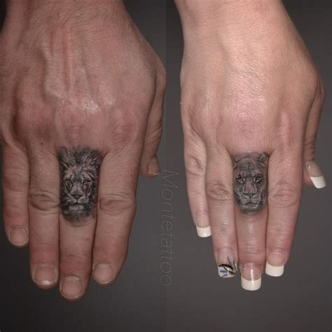 lion tattoo on your finger montetattoo lion lioness finger black grey wildlife