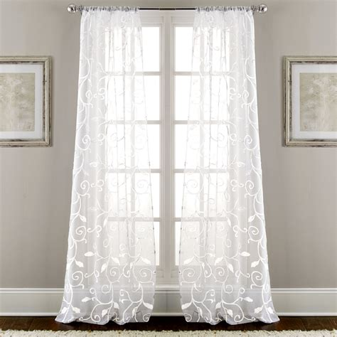 drapery panels sheer embroidered curtains