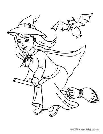 happy witch halloween night flight coloring pages